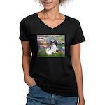 Lilies (2) & Papillon Women's V-Neck Dark T-Shirt