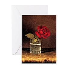 Martin Heade - A Red Rose Greeting Card