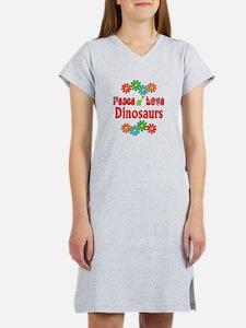 Peace Love Dinosaurs Women's Nightshirt