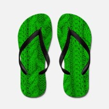 WOOL knit green cable design Flip Flops