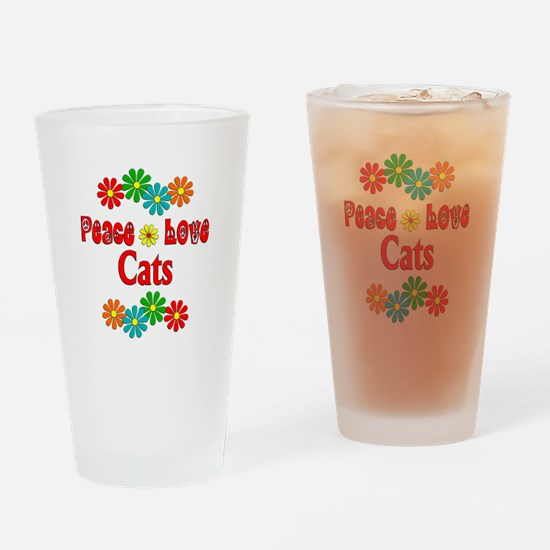 Peace Love Cats Drinking Glass