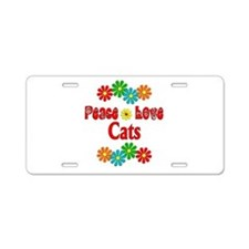 Peace Love Cats Aluminum License Plate