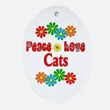 Peace Love Cats Ornament (Oval)