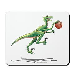 Action Raptor With Basketball Dinosaur Mousepad