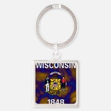 Wisconsin State Flag Square Keychain