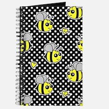 Cute Bumble Bee Pattern Polka Dot Journal