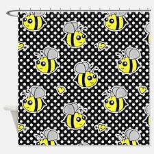 Cute Bumble Bee Pattern Polka Dot Shower Curtain