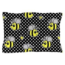 Cute Bumble Bee Pattern Polka Dot Pillow Case