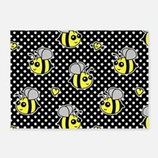 Cute Bumble Bee Pattern Polka Dot 5'x7'Area Rug