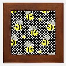 Cute Bumble Bee Pattern Polka Dot Framed Tile