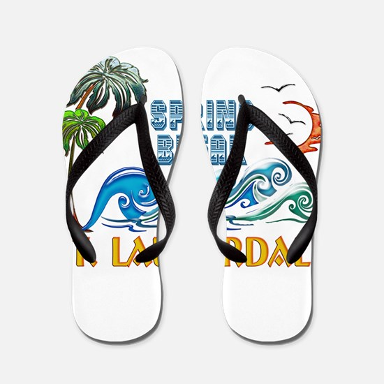 3D Palms Waves Sunset Spring Break FT L Flip Flops