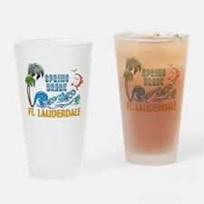 3D Palms Waves Sunset Spring Break Drinking Glass