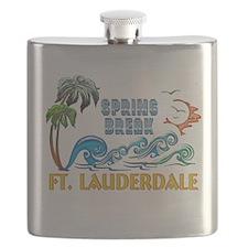 3D Palms Waves Sunset Spring Break FT LAUDER Flask