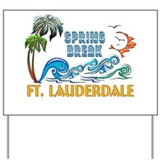 3D Palms Waves Sunset Spring Break FT LA Yard Sign