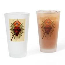 Cute Native american sacred heart Drinking Glass
