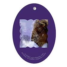 Buffalo in Winter Oval Ornament