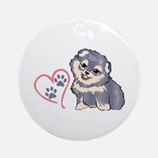 PUPPY PAW PRINTS ON HEART Ornament (Round)