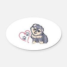 PUPPY PAW PRINTS ON HEART Oval Car Magnet