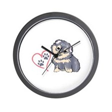 PUPPY PAW PRINTS ON HEART Wall Clock