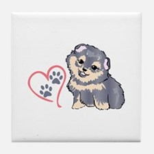 PUPPY PAW PRINTS ON HEART Tile Coaster