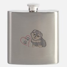 PUPPY PAW PRINTS ON HEART Flask
