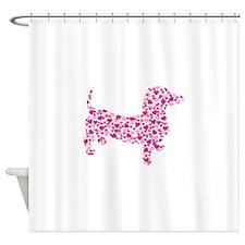 Valentine Dachshund Hearts Shower Curtain