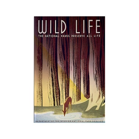 1930s Vintage Wildlife WPA Poster Rectangle Magnet