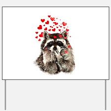 Raccoon Blowing Kisses Cute Animal Love Yard Sign