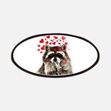 Raccoon Blowing Kisses Cute Animal Love Patches