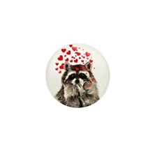 Raccoon Blowing Kisses Cute Animal Love Mini Butto