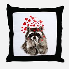 Raccoon Blowing Kisses Cute Animal Love Throw Pill