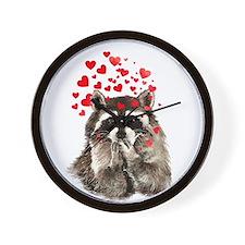 Raccoon Blowing Kisses Cute Animal Love Wall Clock