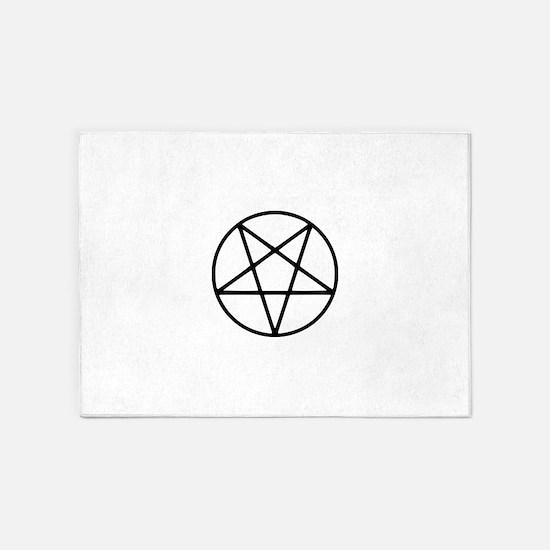 black white pentagram star 5'x7'Area Rug