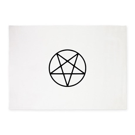Black White Pentagram Star 5u0027x7u0027Area Rug