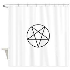 black white pentagram star Shower Curtain