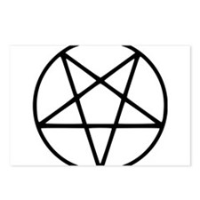 black white pentagram sta Postcards (Package of 8)