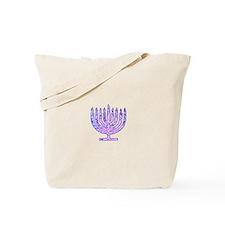Pink Blue Vibrant Hanukkah Menorah 23 Tote Bag