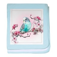Parakeet And Cherry Blossoms - Baby Blanket
