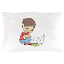 BOY WITH PUPPY Pillow Case