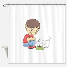 BOY WITH PUPPY Shower Curtain