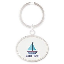 Customizable Blue Sailboat Keychains