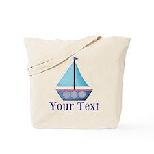 Customizable Blue Sailboat Tote Bag