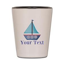Customizable Blue Sailboat Shot Glass