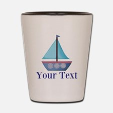 Customizable Blue Sailboat Shot Glass