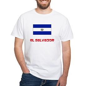 El Salvador Flag Retro Red Design T-Shirt
