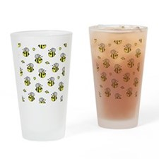Bumble Bee Pattern White Drinking Glass
