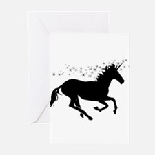 black unicorn stars Greeting Cards