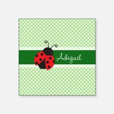 Personalized Ladybug on Green Polka Dots Pattern S