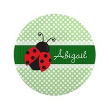 Personalized Ladybug on Green Polka Dots Pattern 3