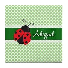 Personalized Ladybug on Green Polka Dots Pattern T